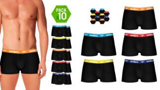 Pack 10 calzoncillos UMBRO en color negro para hombre