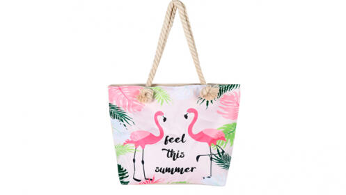 Bolsos de playa con estampado tropical