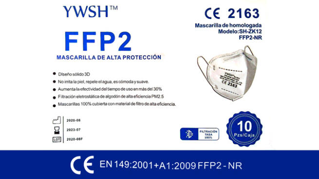 Pack de 20 mascarillas FFP2